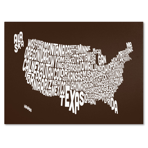 Trademark Global Michael Tompsett 'USA States Text Map - Chocolate' Canvas Art [Overall Dimensions : 16x24]