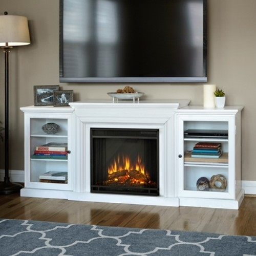 Frederick Electric Fireplace Media Console-White