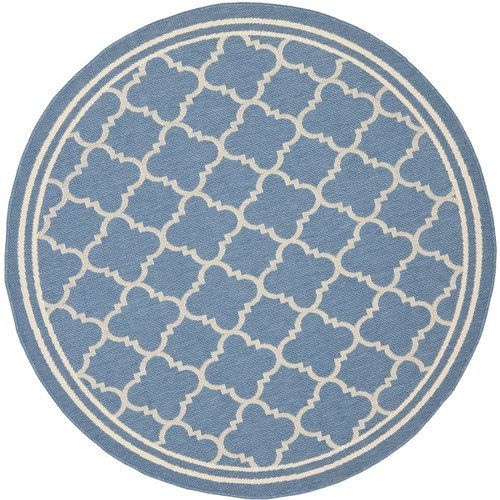 Safavieh Indoor/Outdoor Courtyard Blue/Beige Stain-resistant Rug - 7'10 Round