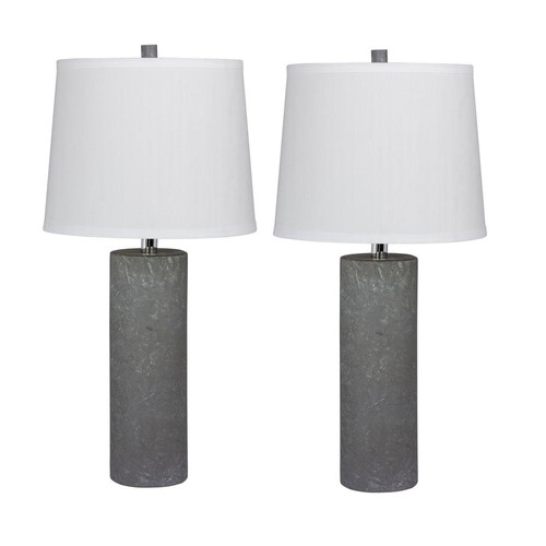 Fangio Lighting Pair of 26 in. Contemporary Column Ceramic Table Lamps in a Gray