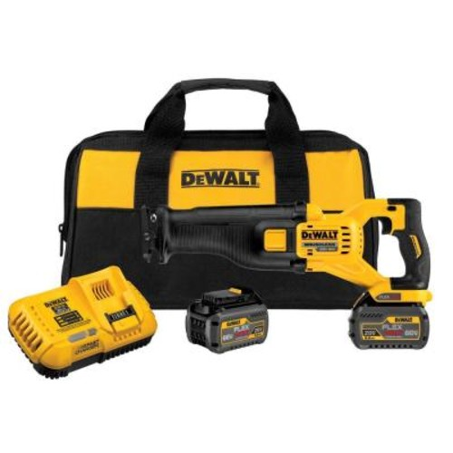 DEWALT FLEXVOLT 60-Volt MAX Lithium-Ion Cordless Brushless Reciprocating Saw with (2) Batteries 6Ah, Charger and Contractor Bag