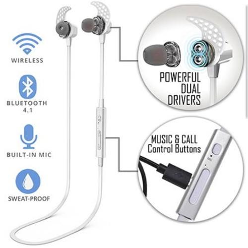 TRAKK Tech METAL In-Ear Premium Wireless Bluetooth Earbud Headphones with Mic