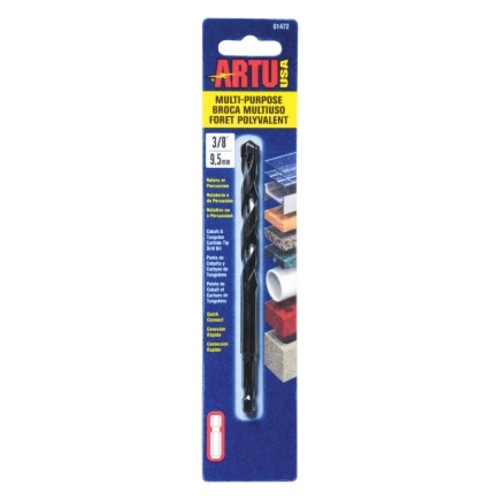 ARTU Multi-Purpose Carbide Tipped Hex 3/8 in. Dia. Quick Connect Drill Bit(01472)