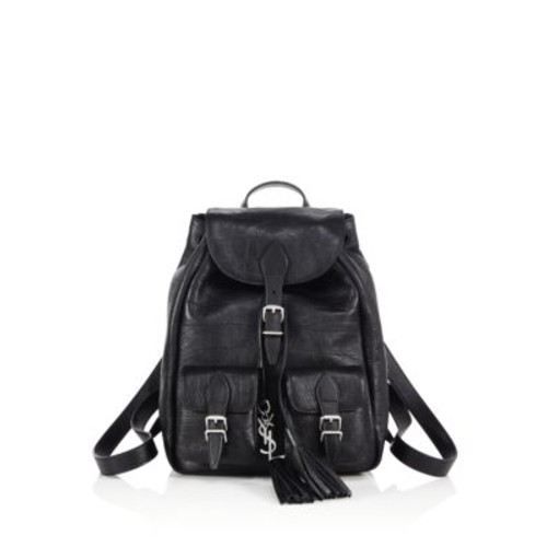 SAINT LAURENT Monogram Crocodile-Embossed Leather Backpack