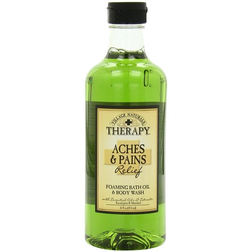 Village Naturals Therapy Foaming Bath Oil, Aches and Pains, 16 Ounce