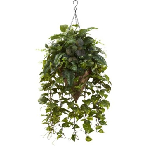 Nearly Natural Vining Mixed Greens Hanging Silk Plant