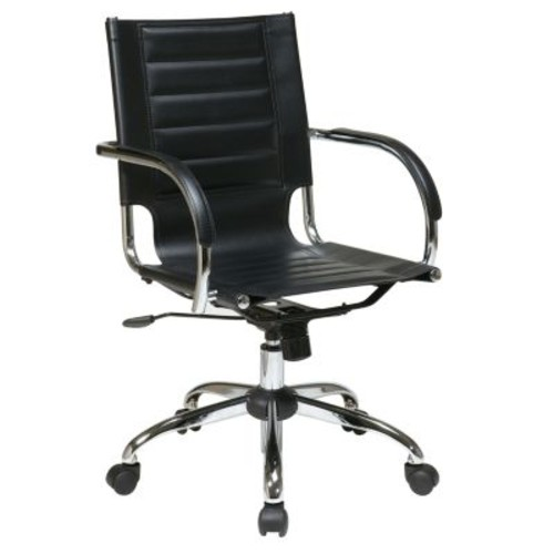 Avenue Six Trinidad Office Chair With Fixed Padded Arms and Chrome in Black