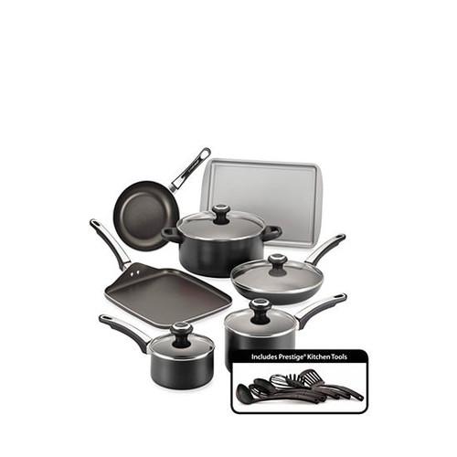 Farberware High Performance Nonstick 17-Piece Cookware Set, Black