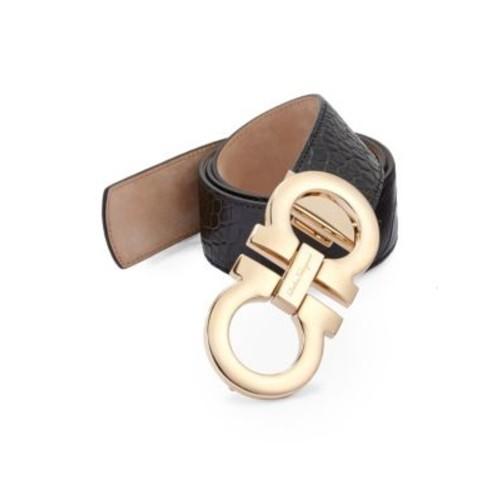 SALVATORE FERRAGAMO Croc-Embossed Leather Belt