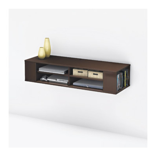 South Shore Furniture City Life Wall Mounted Media Console, Chocolate Finish