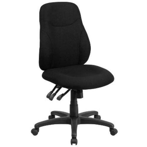 Mid-Back Black Fabric Multi-Functional Ergonomic Swivel Task Chair - Flash Furniture