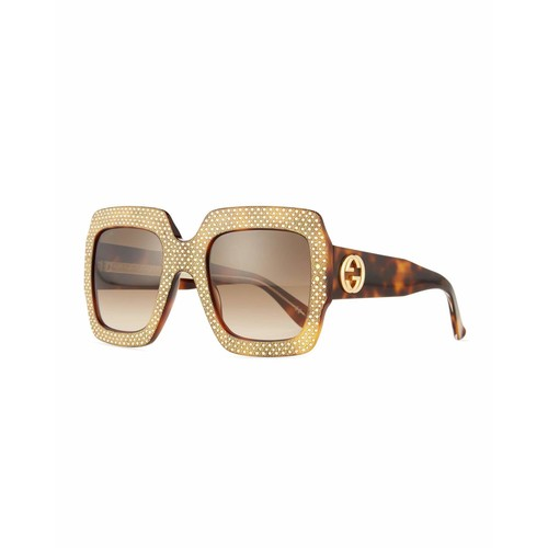 GUCCI Crystal-Trim Square Gradient Sunglasses, Havana