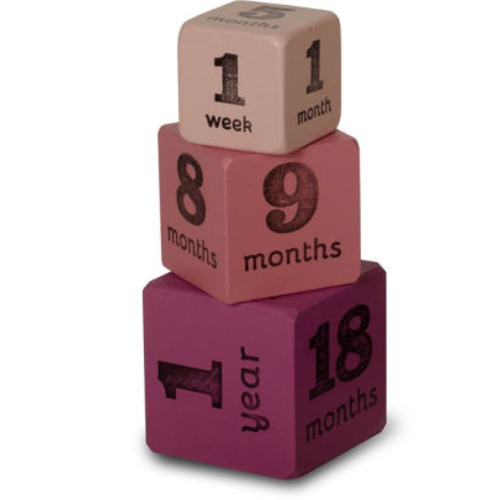 Baby Age Blocks - Multisize Milestone Ages Pink