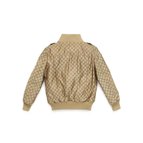 GUCCI Logo-Jacquard Button-Front Bomber Jacket, Beige, Size 4-12
