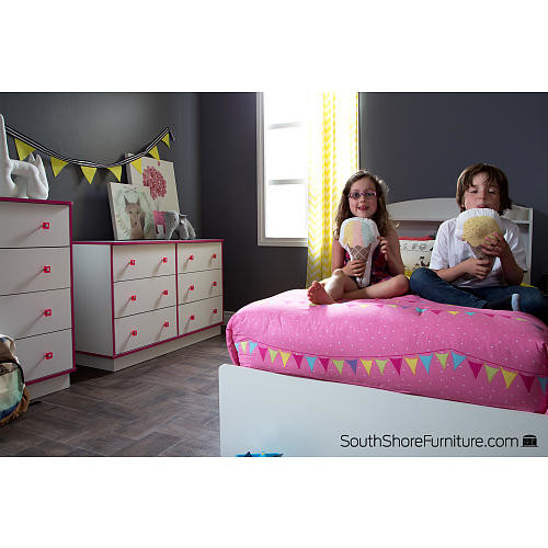 South Shore Furniture Logik 6 Drawer Double Dresser - White and Pink