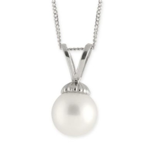 Splendid Pearls 14K White Gold 7mm Freshwater Cultured Pearl 17-Inch Chain Pendant Necklace