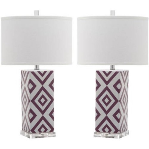 Safavieh Diamonds Table Lamp with CFL Bulb, Multiple Colors, Set of 2