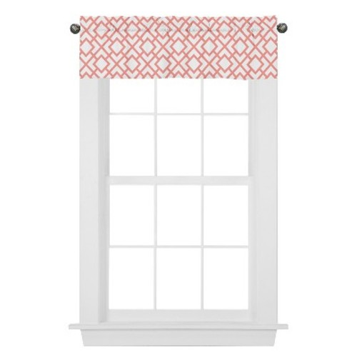 Sweet Jojo Designs Window Valance - White & Coral Mod Diamond