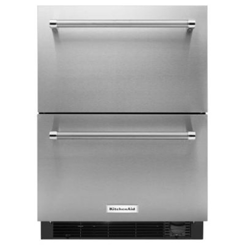 KitchenAid 24 in. W 4.7 cu. ft. Double Drawer Freezerless Refrigerator in Stainless Steel, Counter Depth