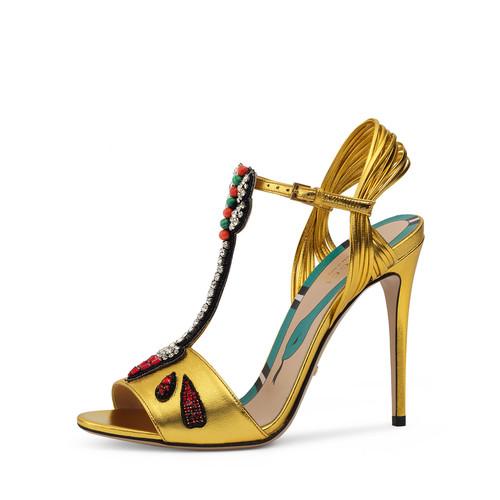GUCCI Allie Arrow-Appliqué Leather Sandal, Oro