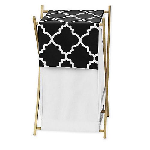 Sweet Jojo Designs Trellis Hamper in Black and White