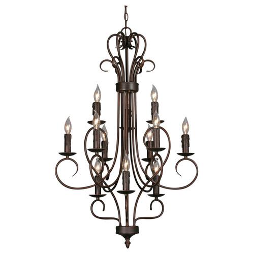 Golden Lighting Multi-family Rubbed Bronze Finish Steel 3-tier 12-light Candelabra Chandelier