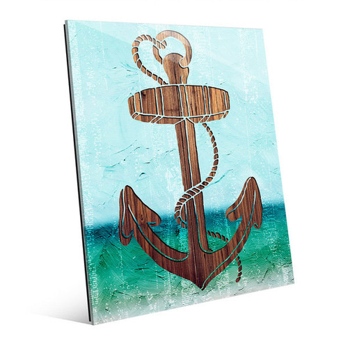 Wood Anchor on Green Glass Wall Art [option : Wood Anchor on Green 11
