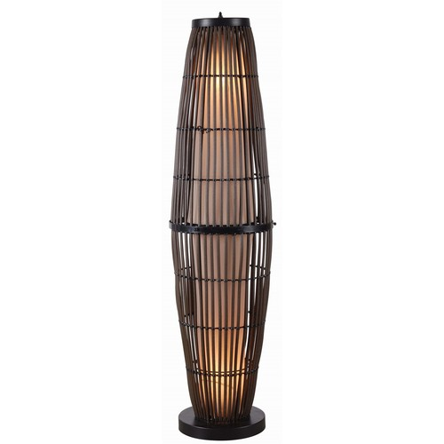 Kenroy Biscayne Rattan Finish With Bronze Accents Outdoor Floor Lamp