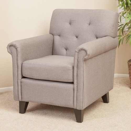 Veronica Tufted Grey Fabric Club Chair by Christopher Knight Home