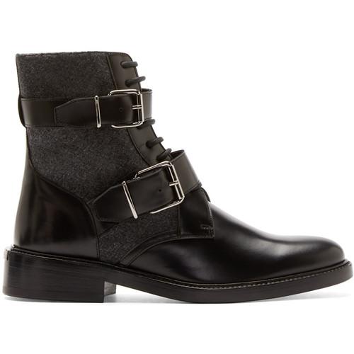 BURBERRY LONDON Black Leather & Felt Haldworth Ankle Boots