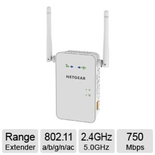 NetGear AC750 Wi-Fi Wireless Range Extender - IEEE 802.11 a/b/g/n/ac, 2.4GHz - 5.0GHz, 750Mbps - EX6100-100NAS