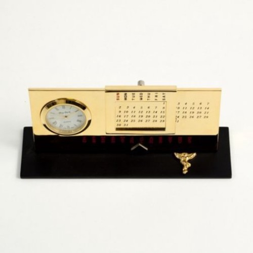 Bey-Berk International Chiropractor Perpetual Calendar with Clock - Gold Plated