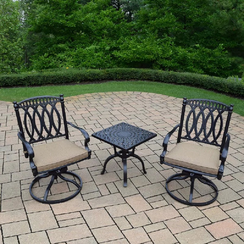 Milan 3 Pc Cast Aluminum Chat Set with Side Table and 2 Cushioned Swivel Rockers