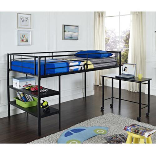 Walker Edison Metal Twin Loft Bed with Desk