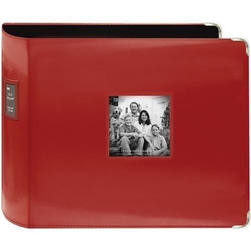 Pioneer 12-Inch by 12-Inch Sewn Leatherette 3-Ring Binder, Red [Red]
