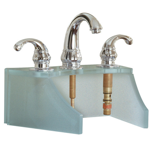 Tempered Glass Frosted Metallic Silver Faucet Stand