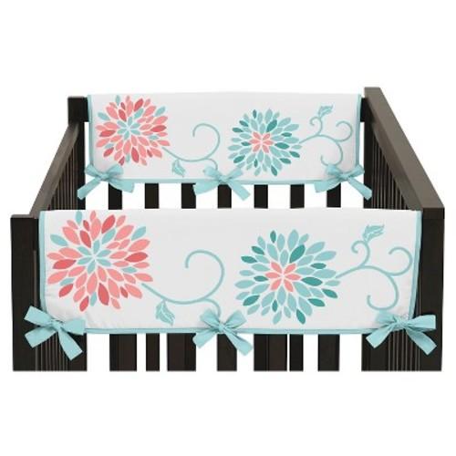 Sweet Jojo Designs Emma Side Crib Rail Guard Covers (Set of 2) - Coral