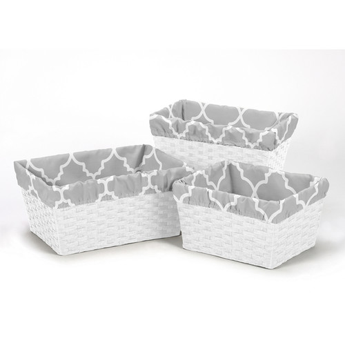 Sweet Jojo Designs Grey and White Trellis Collection Basket Liners