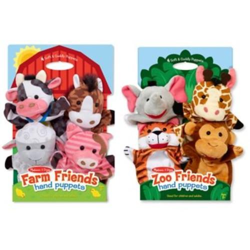 Melissa & Doug 8-Piece Farm & Zoo Friends Hand Puppet Bundle