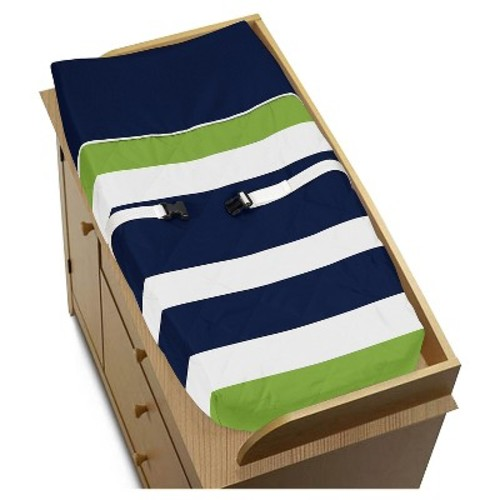 Sweet Jojo Designs Navy Blue & Lime Green Changing Pad Cover - Navy