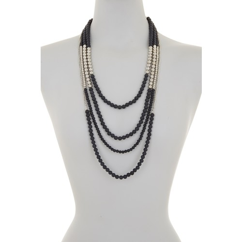 Multi Strand Two-Tone Beaded Necklace