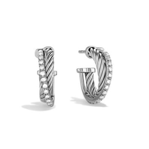 Crossover Extra-Small Hoop Earrings with Diamonds