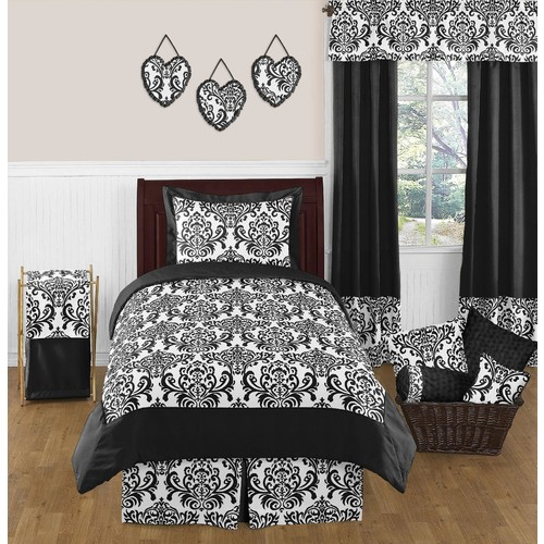 Sweet Jojo Designs Isabella Black and White Collection 3pc Full/Queen Bedding Set