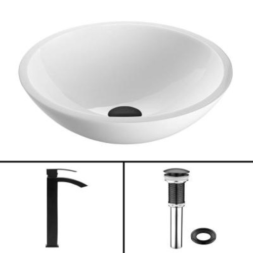 VIGO Glass Vessel Sink in Flat Edged White Phoenix Stone and Duris Faucet Set in Matte Black