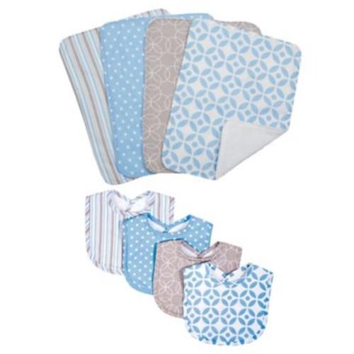 Trend Lab 8-Piece Logan Bib and Burp Cloth Set in Blue
