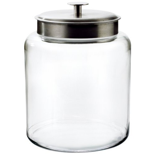 Anchor Hocking Montana Glass Jar with Fresh Sealed Lid, Brushed Metal, 2 Gallon [2-gallon]