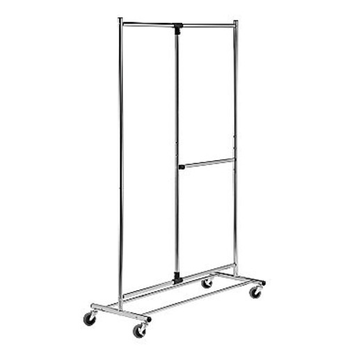 Honey-Can-Do GAR-01702 Dual Bar Adjustable Garment Rack, Chrome, 80-Inch