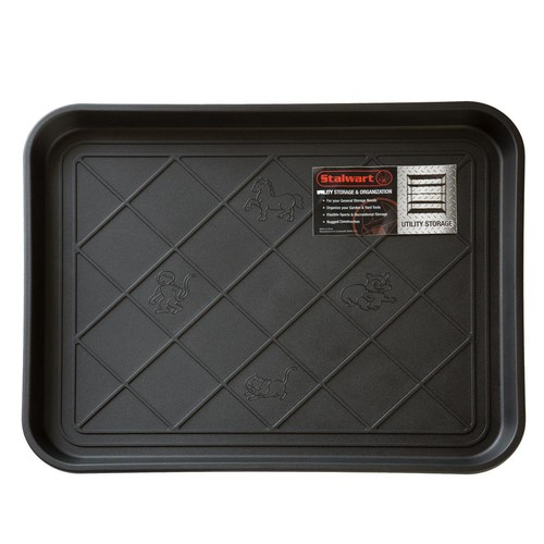 Stalwart Black 15 in. x 20 in. Eco-Friendly Polypropylene Utility Boot Tray Mat