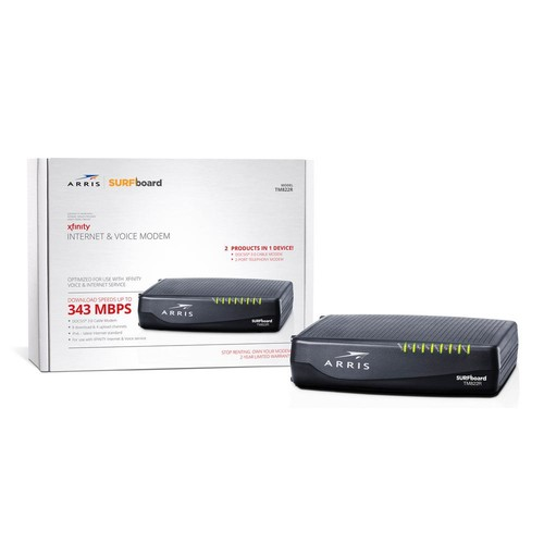 ARRIS Surfboard Docsis 8X4 Cable Modem / Telephone Certified for XFINITY - Download Speed: 343 Mbps (TM822R)
