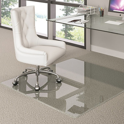 Deflect-O Premium Glass Chairmat With Beveled Edge, For All Pile Carpets, 36